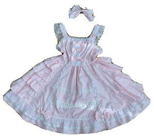Ich verkaufe ein rosa-weißes 'Sweet Lolita' Kleid, mit extra Schleife.