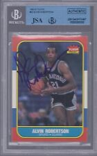 ALVIN ROBERTSON SIGNED 1986-87 FLEER CARD AUTOGRAPH JSA/BGS ENCAPSULATED