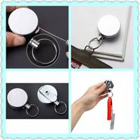 Retractable Metal ID Card Badge Keychain Reel Holder Clip Fishing Safety Rope