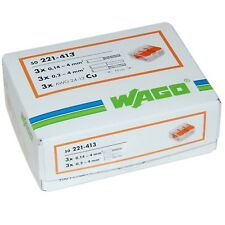 WAGO 221-413 3-WAY LEVER TYPE CONNECTOR  2 x 50pc Packs 100pcs Total-UK Stockist