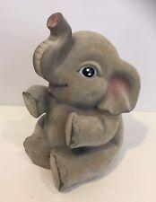 "Adorable Baby Elephant Flocked Piggy Bank Nursery Childrens Decor Dumbo 9"""
