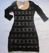 New with tags Studio M Dress Three-Quarter-Sleeve Lace Black Nude Size XSP