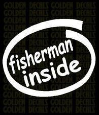 fisherman inside vinyl decal sticker  fishing jeep truck car wall PC laptop