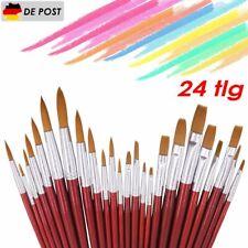 24 tlg Set Pinsel Set Künstlerpinsel Malpinsel Flach Acryl Aquarell Ölfarbe