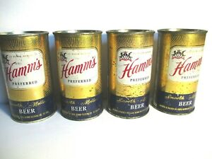 4 Hamm's Preferred Sunburst 12 Oz. Flat Top Beer Can Hamm Brewing St Paul