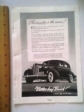 """1938 Print Ad Buick Roadmaster 141 hp """"ten to sixty in 18 seconds flat""""! 9.5""""X7"""""""