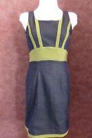 Robe ANNE CEYLAC T38 - Robe droite en jean bleu et verte strech (1703015)