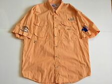 Columbia PFG Men's XL Orange Vented Outdoor Hiking Fishing Shirt American Heroes