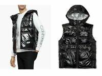 Calvin Klein Men's Black Hooded Puffer Vest Winter Coat Shiny Jacket Size XL New