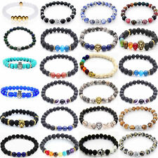 50 Pieces Wholesale Charm Men's 8MM Natural Lava Beaded Stretch Fashion Bracelet