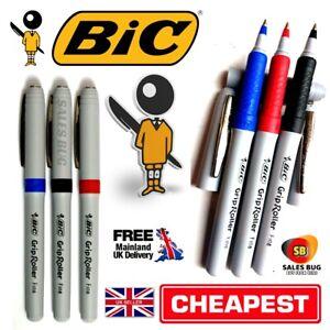 3 Bic grip roller pens 1Black 1 Red 1 Blue soft comfort grip