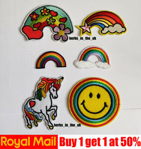 Rainbow Unicorn , Smile Smiley Icon Patch Badge Iron On Sew On