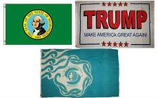 3x5 Trump White #2 & State Washington & City Seattle Wholesale Set Flag 3'x5'