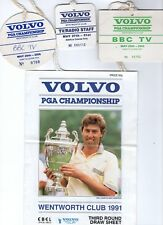 Golf memorabilia Volvo Pga Championship Tv & Media passes x 8 & 3rd draw sheet