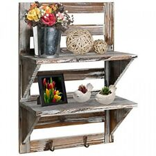 MyGift Rustic Wood Wall Mounted Organizer Shelves w/ 2 Hooks, 2Tier Storage