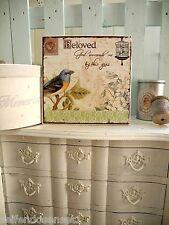 XL Vogel Holz Holzschild Wandbild Schrift Bild Spruch Romantik shabby chic Holz