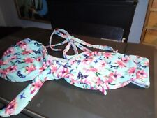 """GEORGE""  BIKINI TOP, 8,   TURQ. WITH PINK FLORAL DESIGN   GD.COND."