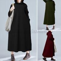 ZANZEA Women Long Sleeve Hoodies Casual Long Shirt Dress Sweatshirt Dress Plus