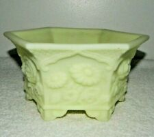 Fenton Art Glass Satin Yellow Custard Hexagonal Chrysanthemum Footed Bowl Dish