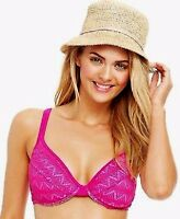 Hula Honey Crochet Overlay Underwire D-Cup Bikini Top Pink/Lilac Size Juniors