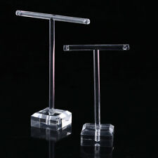 2pcs/set Clear Plastic Earrings Showcase Display T Bar Stand Holder Organizer U6