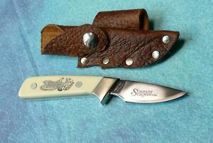SCHRADE USA Eagle Scrimshaw Knife SC509 VINTAGE 1983 Little Finger Custom Sheath