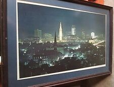 "Cleveland Skyline Gary Marmolya Signed Framed Photo Print 30"" X 21"""