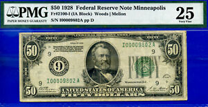 FR-2100-I - 1928 $50 FRN (( 00009802 )) PMG 25 - Wanted Minneapolis District-