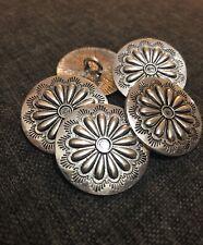 5 x 30mm Antique Silver Metal Shank Buttons- Australian Supplier
