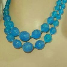 Vivid Blue Lucite Vintage 50's Japan 2 Strand Necklace 259AG5
