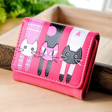 Girls Cute Cat Trifold Short Wallet Coin Purse Card Holder Mini Handbg Rose Red
