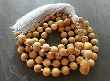 Mysore Sandalwood Hand Knotted Mala Prayer Beads 12mm Beads with a Hand Carved G