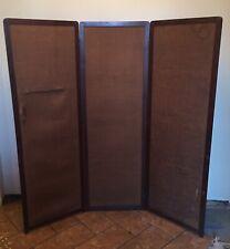 3 Panel Screen Room Divider Wood Folding Frame Good / Fabric Needs Replacing