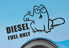 Diesel Fuel Only Sticker Decal Sign Car Van Vehicle Funny Simon's Cat Black