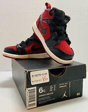 Jordan 1 Mid Td Toddler Baby Size 6C Black/Gym Red
