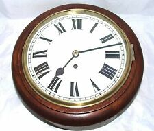 "Antique 10"" Dial Mahogany Chain Fusee Wall School Station Clock CLEANED SERVICED"