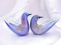Gorgeous Murano Pair of Blue Doves w/Gold Dust Signed FREE SHIP!