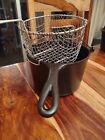 Wagner Ware Sidney -O- Cast Iron Deep Fat Fryer #1265 With Wire Basket