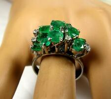 Antique Colombian 2.5C Muzo Emerald Diamond Cocktail Women Ring 14K White Gold