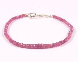 5 Inch Pink Sapphire Bracelet AAA Quality Bracelet 6-7.5 MM Size Loose Gemstone C3554 Natural Pink Sapphire Oval Shape Smooth Beads