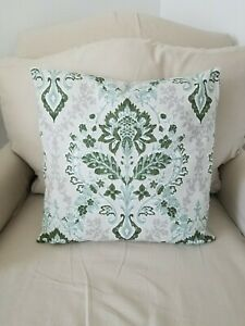 Green, Grey and White Damask Print Cotton Duck Pillow Cover- Various Sizes