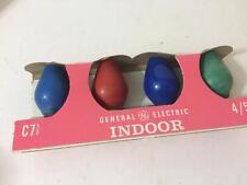 General Electric Vtg Christmas Indoor Lamp  Bulbs C 7-1/2 Green Blue Red Set 4