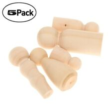5Pcs Wooden Peg Dolls Family DIY Crafts Cake Topper Kid's Printed Decoration Toy