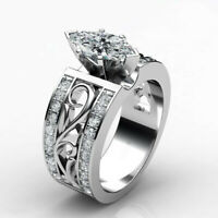 Elegant Women 925 Silver Wedding Ring Marquise Cut White Sapphire Ring Size 6-10
