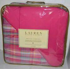 Lauren Ralph Lauren Bronze Comfort Down Alternative Pink Plaid Queen Comforter