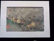 Estampe Japonaise ancienne Hiroshige L'Averse de Shono