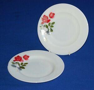 "Vintage JAJ Pyrex 2 X June Rose Salad, Dessert Plates.8.5"" Diameter."