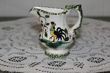 Vintage.White W/ Green & Leaves.Strutting Rooster.Mini-Pitcher.