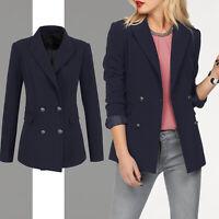 Marken edel BLAZER Gr.38/40 Büro Business Anzug-Jacke in Marine-Style