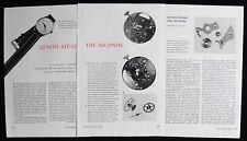 ZENITH MANUAL WIND CENTRE SECONDS WRISTWATCH WATCH 3pp PHOTO ARTICLE 1955